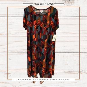 LULAROE Carly Dress Multicolor Size L NWT